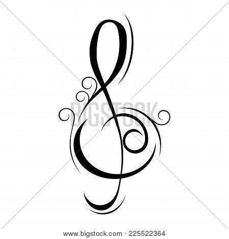 Treble Clef Music Vector Illustration On White Background