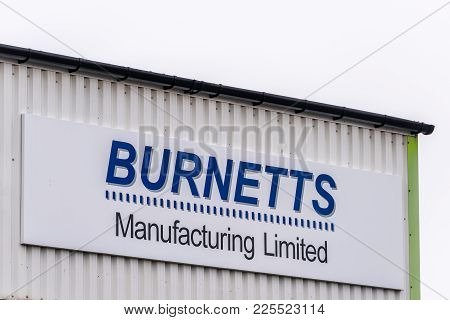 Northampton Uk January 11 2018: Burnets Manufacturing Rubber Silicone Moulding Producer Logo Sign.