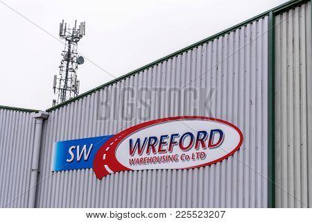 Northampton Uk January 11 2018: Wreford Warehousing Logo Sign On Warehouse Wall.