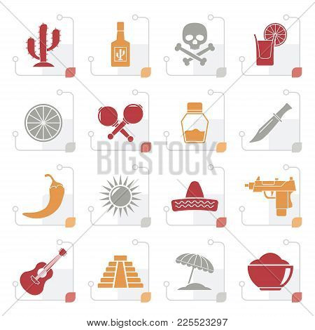 Stylized Mexico And Mexican Culture Icons - Vector Icon Set