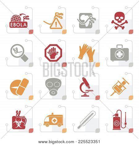 Stylized Ebola Pandemic Icons - Vector Icon Set