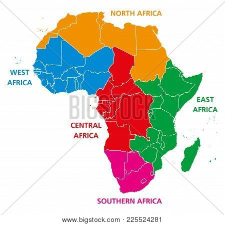 Regions Of Africa. Political Map. United Nations Geoscheme With Single Countries. North, West, Centr