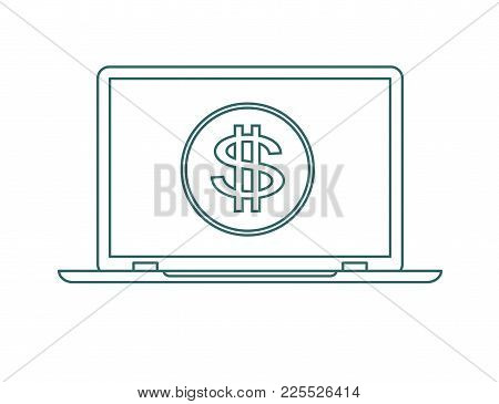 Laptop Screen With The Dollar Sign. Economy Concept. Vector