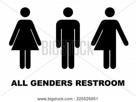 All Gender Restroom Sign. Male, Female Transgender. Vector Illustration. Black Symbols Isolated On W