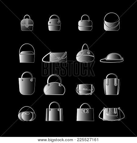Set Of White Icons Of Womens Bags In The Style Of Flat