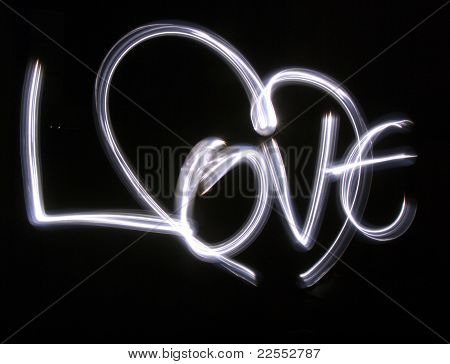 Lightbrushed Heart Against Black