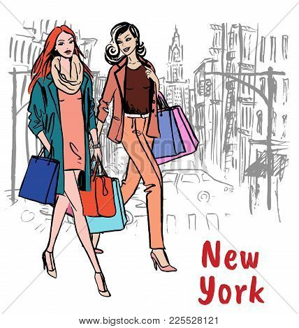 Young Man And Woman In New York, Usa. Fashion Illustration