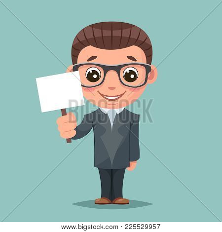 Promotion Advert Stick Cute Businessman Mascot Happy Support Approval Characters Cartoon Set Design