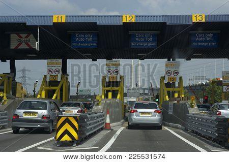 Stationary Traffic Queue Approaching Dartford Tunnel Crossing River Thames London England