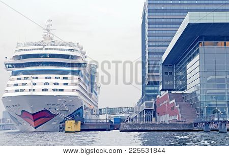 Amsterdam, Netherlands - April 3: Cruise Ship Aidasol In The Amsterdam Port On April 3, 2014 In Amst