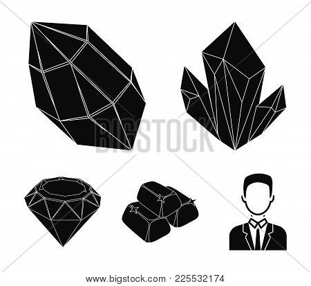 Crystals, Minerals, Gold Bars. Precious Minerals And Jeweler Set Collection Icons In Black Style Vec