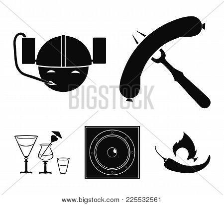 Fried Sausage, Beer Helmet, Cocktails, Speaker.pub Set Collection Icons In Black Style Vector Symbol