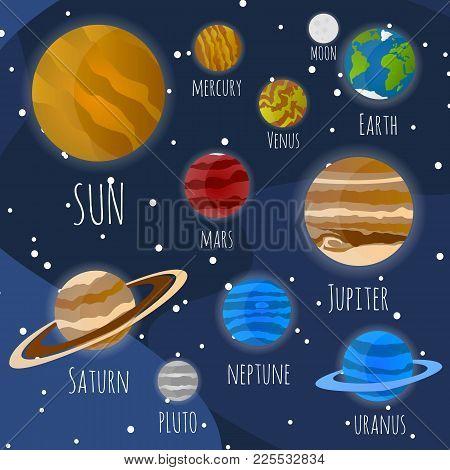 Planets Of The Solar System. Sun, Neptune Mercury, Venus, Mars, Jupiter, Earth, Saturn, Pluto, Uranu