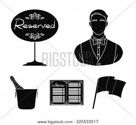 Waiter, Reserve Sign, Menu, Champagne In An Ice Bucket.restaurant Set Collection Icons In Black Styl