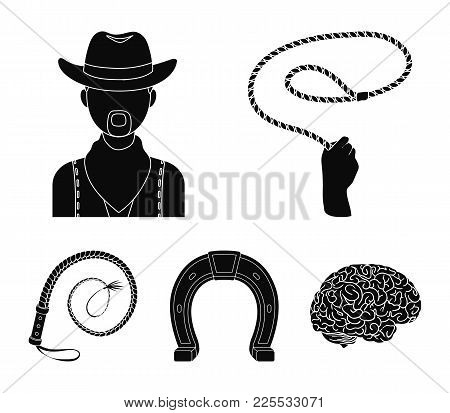 Hand Lasso, Cowboy, Horseshoe, Whip. Rodeo Set Collection Icons In Black Style Vector Symbol Stock I
