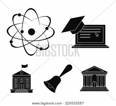 Computer, Cap, Atom, Nucleus, Bell, University Building. School Set Collection Icons In Black Style