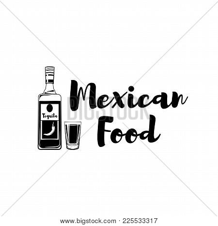 Tequila And Shot Glass Icons. Mexican Food. Vector Illustration Isolated On White Background.