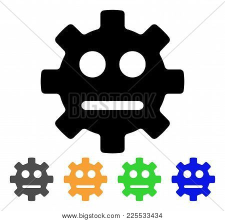 Gear Pity Smiley Icon. Vector Illustration Style Is A Flat Iconic Gear Pity Smiley Black Symbol With