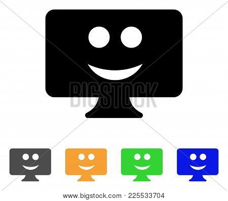 Display Smile Icon. Vector Illustration Style Is A Flat Iconic Display Smile Black Symbol With Gray,
