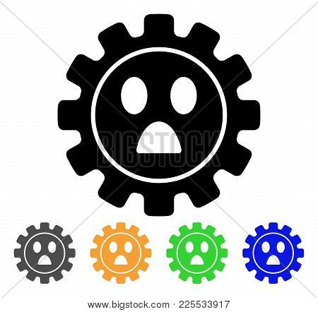 Gear Wonder Smiley Icon. Vector Illustration Style Is A Flat Iconic Gear Wonder Smiley Black Symbol