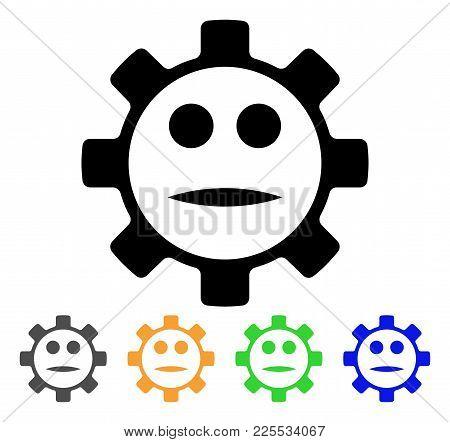 Gear Face Neutral Smiley Icon. Vector Illustration Style Is A Flat Iconic Gear Face Neutral Smiley B