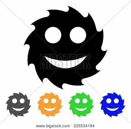 Circular Blade Happy Smiley Icon. Vector Illustration Style Is A Flat Iconic Circular Blade Happy Sm