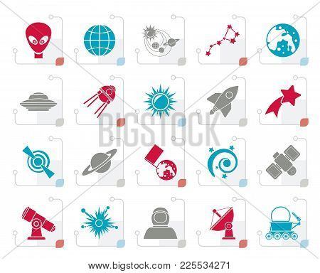 Stylized Astronomy And Space Icons  - Vector Icon Set