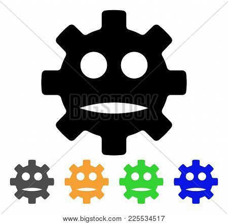 Gear Sad Smiley Icon. Vector Illustration Style Is A Flat Iconic Gear Sad Smiley Black Symbol With G