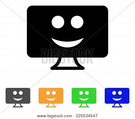 Display Smile Icon. Vector Illustration Style Is A Flat Iconic Display Smile Black Symbol With Grey,