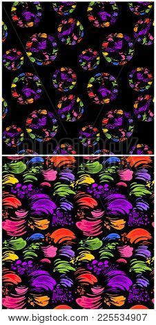 Abstract seamless black wallpaper with colorful brush strokes and wrapper with hippie peace symbols with colorful splashed