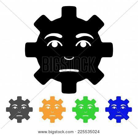 Pity Service Gear Smiley Icon. Vector Illustration Style Is A Flat Iconic Pity Service Gear Smiley B