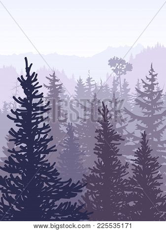 Vertical Vector Illustration Of Coniferous Forest (spruce, Pine) With Mountain Range In Violet Tones