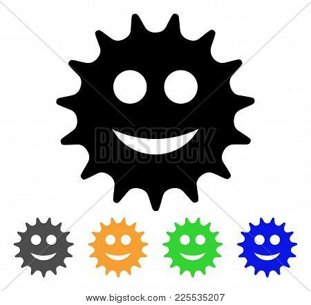 Cog Smile Icon. Vector Illustration Style Is A Flat Iconic Cog Smile Black Symbol With Grey, Yellow,
