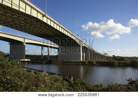 View South Of Thelwall Viaduct And M6 Motorway Crossing Manchester Ship Canal England