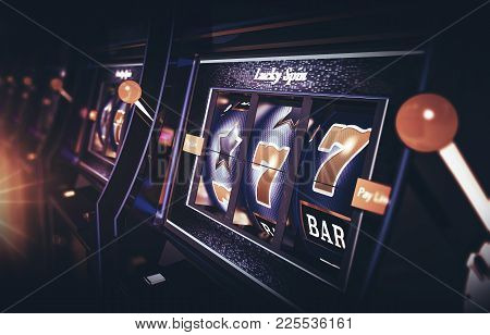 Row Of Vegas Slot Machine 3d Rendered Illustration With Depth Of Field. One Handed Bandits Casino Ga