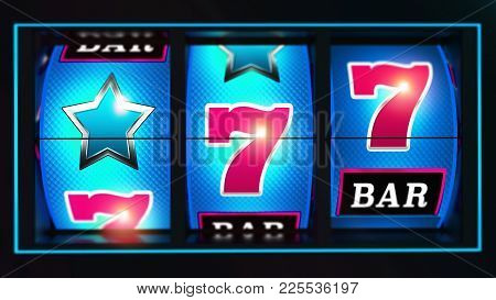 Casino Lucky Blue Slot Reels With Pink Seven Symbols 3d Rendered Concept Illustration. Triple Reels