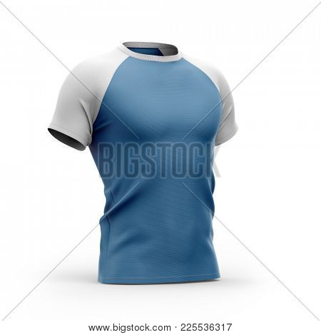 Short sleeved men's t shirt with round nack and raglan sleeves. Half- front view. 3d rendering. Clipping paths included: all object and sleeves.  Isolated on white background.