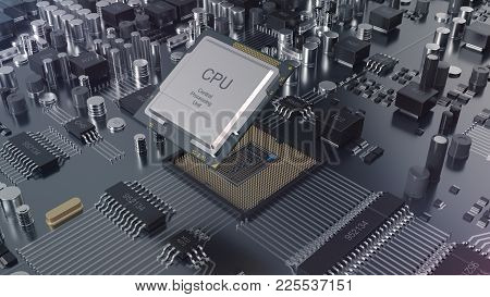 3d Illustration Close-up View Electronic Circuit Board. Computer Technology. Motherboard With Cpu Ch