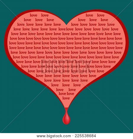 Red Heart Wounded With Love. Font Design. Pop Art Vector Illustration