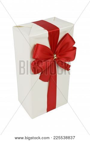 White Gift And Red Ribbon Isolated On White Background