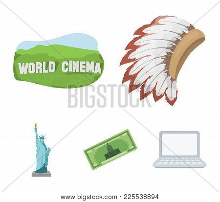 Mohavk, World Cinema, Dollar, A Statue Of Liberty.usa Country Set Collection Icons In Cartoon Style
