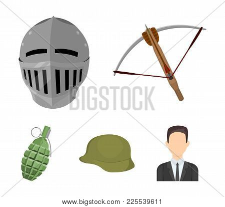 Crossbow, Medieval Helmet, Soldier's Helmet, Hand Grenade. Weapons Set Collection Icons In Cartoon S