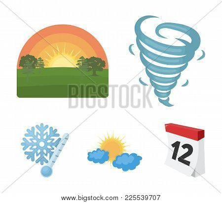 Tornado, Sunrise, Cloudiness, Snow And Frost. The Weather Set Collection Icons In Cartoon Style Vect