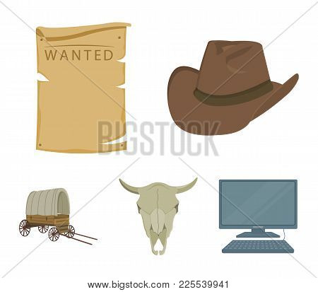 Cowboy Hat, Is Searched, Cart, Bull's Skull. Wild West Set Collection Icons In Cartoon Style Vector