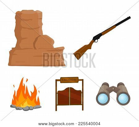 Winchester, Saloon, Rock, Fire.wild West Set Collection Icons In Cartoon Style Vector Symbol Stock I