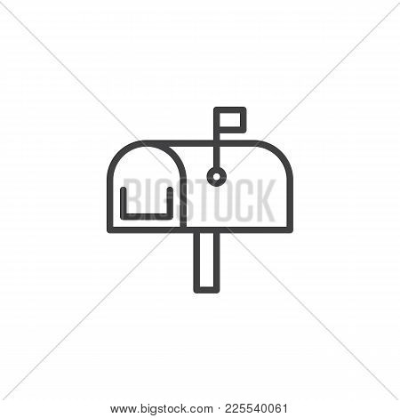 Mailbox Line Icon, Outline Vector Sign, Linear Style Pictogram Isolated On White. Mail Box Symbol, L