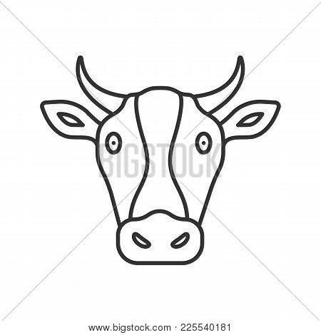 Cow Head Linear Icon. Livestock Farming. Agriculture. Thin Line Illustration. Contour Symbol. Vector