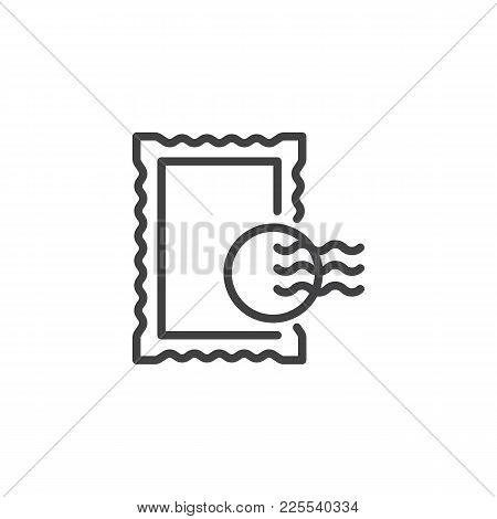 Post Stamp Line Icon, Outline Vector Sign, Linear Style Pictogram Isolated On White. Symbol, Logo Il