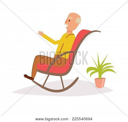 Old Man Rocking In A Rocking Chair. Vector. Cartoon. Isolated Art On White Background. Flat