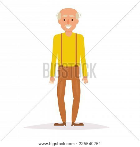 Old Man. Vector. Cartoon. Isolated Art On White Background Flat